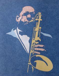 TABLEAU PEINTURE jazz sax musicien john coltrane Personnages Collage - John Coltrane