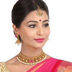 Antique Necklace 58665R #Kushals #Jewellery #Fashion #Indian #Jewellery #Necklace #Earrings #Designer #Fashion #choker #chain #Antique #Bridal #Festive #wedding