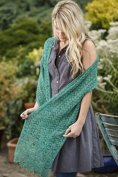 The Rockrose Wrap by Charlotte Walford is worked up in Gleem Lace by Fyberspates (shown here in the Sea Green colourway)