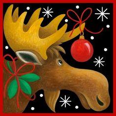 Christmas Moose by Stephanie Stouffer Christmas Moose, Christmas Canvas, Christmas Paintings, Christmas Animals, Christmas Signs, Christmas Pictures, Winter Christmas, Vintage Christmas, Christmas Time