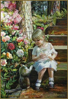 Painting a little girl and a cat http://www.art-portrets.ru/oil/painting-a-little-girl-and-cat.html