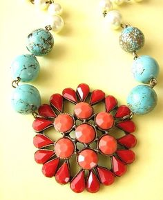 Pendant Necklace, Coral Turquoise Stone Jewelry, Pearl Rhinestone Necklace, Vintage Jewelry