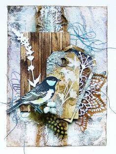 Summer song mixed media art card by Sanda Reynolds www.artfulflight.com