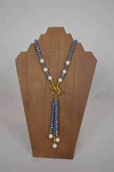 Dusty Blue Crystal Tassel Necklace