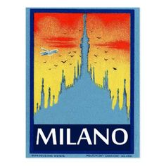 #Milano Cathedral Italy vintage travel poster Postcard - #vintage #travel #cards #custom #personalize