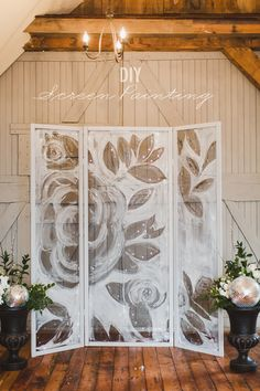 DIY painted screen backdrop! http://ruffledblog.com/diy-screen-painting-backdrop #diyprojects #weddingideas