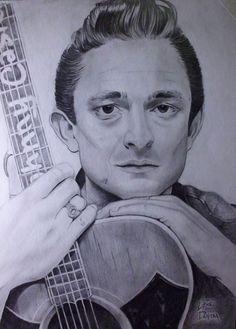 Portrait of Johnny Cash - pencil on paper