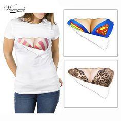 Free The Nipple 2017 Fashion 3D Print shirt Funny t shirt Fake Big Chest tops Bra Tee women summer t-shirt New TS-041