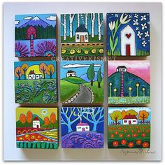 all the little houses ~ Regina Lord of Creative Kismet - patchwork - Love these! 9 little houses by Regina Lord (creative kismet) - Pintura Graffiti, Small Paintings, House Paintings, Face Paintings, Mini Canvas Art, Owl Canvas, Small Canvas, Naive Art, Whimsical Art