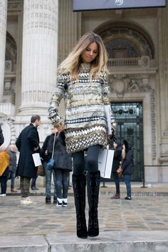 I think what makes it work so well is the 'holiday glitter vibe' plus tights plus boots plus lean silhouette...nice!
