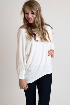 Basically Perfect Ivory Tunic – Single Thread Boutique, $35.00 #tunic #ivory #oversized #loose #offtheshoulder #singlethreadbtq #shopstb #boutique