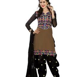brown embroidered cotton semi stitched salwar with dupatta shop online