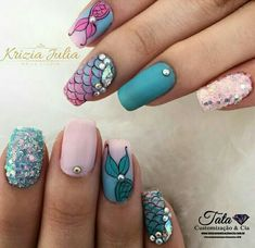 Mermaid Nails Add some inspiration from under the sea to your next manicure with mermaid nails. Take a peek at some of our favorite mermaid nail art designs. Nail Art Designs, Simple Nail Designs, Nails Design, Nail Designs For Kids, Tropical Nail Designs, Easter Nail Designs, Nail Designs Spring, Summer Nails, Spring Nails