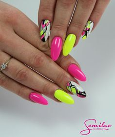 These lovely summer nail art designs are very much imitable for the viewers. By applying one of these styles one may look gorgeous and beautiful. Keeping one of these nail arts you may attend any type of functions or events. Neon Nail Art, Neon Nails, Yellow Nails, Cute Nail Art, Bright Colored Nails, Pink Summer Nails, Hot Pink Nails, Dope Nails, My Nails