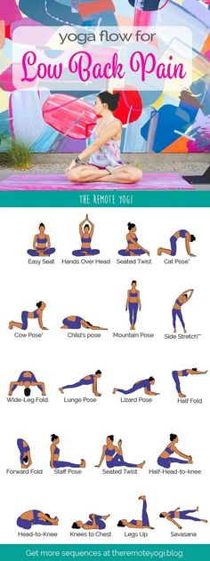 Yoga Flow for Lower Back Pain - Free Printable PDF This sequence is designed to . Yoga Flow for Lower Back Pain – Free Printable PDF This sequence is designed to help relieve pain Vinyasa Yoga, Yoga Positionen, Namaste Yoga, Yoga Meditation, Pilates Yoga, Yoga Fitness, Fitness Workouts, At Home Workouts, Fitness At Home