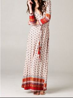 Rust medallion Faux wrap maxi dress Shannasthreads.com