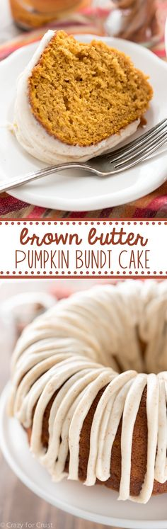 This easy Brown Butter Pumpkin Bundt Cake recipe is the BEST pumpkin cake you'll ever eat. Brown butter goes in the cake and the frosting! (Pumpkin Bake Ideas)