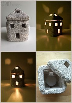 Natural Home Decor/ Pumice Stone Candle Holder/ By SerayDesign