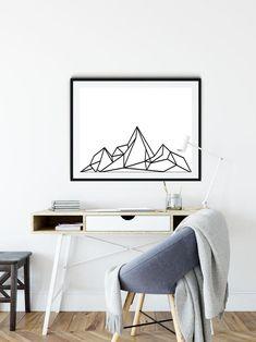 home decor furniture Geometric Poster, Geometric Wall Art, Mountain Designs, Mountain Art, Geometric Mountain, Bedroom Posters, Minimalist Poster, Minimalist Decor, Living Room Art