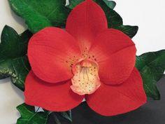 in stock red Vanda orchid cake topper spray by SweetpeaSugarArt
