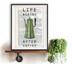 Vintage café Pot Art Print Typography Poster decoration murale, la vie commence après le café, Inspirational imprimer Home Decor hiver cuisine Noël