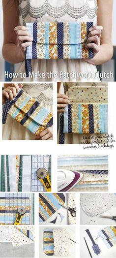 How to Make Patchwork Clutch. Tutorial http://www.handmadiya.com/2015/05/patchwork-clutch.html