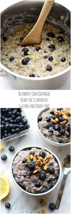 Blueberry Chia Oatmeal ~ Ready in just 15 minutes, this healthy breakfast is filled with fiber, antioxidants and omega-3-fatty acids. Perfect way to start your day!