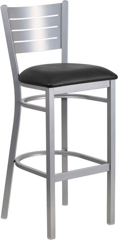 Hercules Series Clear Coated Ladder Back Metal Restaurant Barstool w/ Burgundy Vinyl Seat - Flash Furniture metal barstool is a popular choice for furnishing restaurants, pool halls, lounges, bars and other high traffic est Restaurant Bar Stools, Restaurant Furniture, Metal Stool, Metal Bar Stools, Counter Stools, Series Black, Black Bar Stools, Silver Bar Stools, 5 W