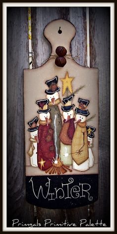 Primitive Winter Snowman Wood Plaque Holiday Wall Decor by Primgal