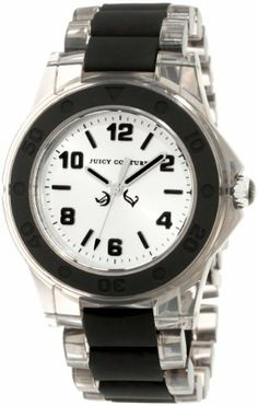 Juicy Couture Women's 1900870 Rich Girl Clear Plastic Bracelet With Black Silicone Inlay Watch Juicy Couture. $119.95. Water-resistant to 99 feet (30 M). Arabic number markers. Seconds hand; Sizeable bracelet. Clear plastic bracelet with black silicone center links. Black silicone bezel