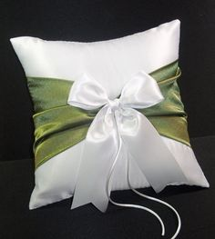 Use coupon code PINITFREESHIP for FREE shipping! Fern Moss Green Accent  White or Ivory Wedding Ring Bearer Pillow by Jessicasdaydream