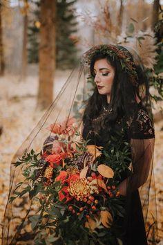 Autumn Vow Renewal With A Midnight Black Dress Moody Wedding Colour Scheme Fall Wedding, Dream Wedding, Geek Wedding, Witch Wedding, Wedding Vows, Black Wedding Dresses, Black Weddings, Wedding Black, Autumn Weddings