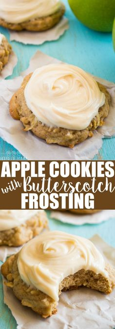 Soft  thick Apple Cookies. Topped with a sweet, fluffy cream cheese…