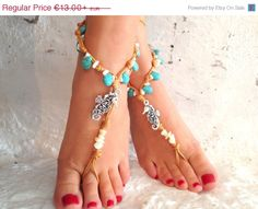 PROMO SALE Barefoot sandals. beach sandal, beaded sandals, , sea horse  boho barefoot sandles, crochet barefoot sandals, , yoga, anklet  hip