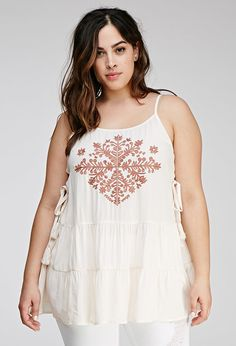 Plus Size FOREVER 21+ Tiered Embroidered Tunic