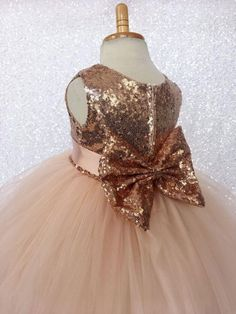 Rose Gold Sequin Bow Flower Girl Wedding Birthday Pageant Graduation Recital Bridesmaid Holiday Wedding size S M L XL 2 4 6 8 10 12 14 16 Gold Bridesmaid Dresses, Wedding Bridesmaids, Wedding Dresses, Wedding Flowers, Tulle Flowers, Gold Flower Girl Dresses, Flower Girls, Gold Dress, Easter Dress