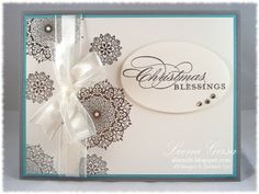 Christmas card using Happy Day, More Merry Messages and A Round Array stamp sets from Stampin' Up