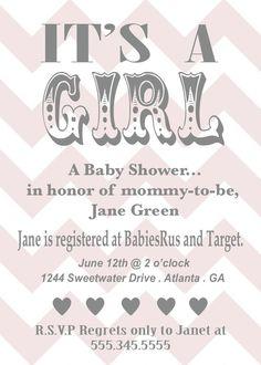 pink chevron baby shower invite