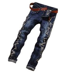 Mens Ripped Slim Fit Jeans via JQ online store. Click on the image to see more!