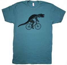 UNISEX ALLIGATOR on BICYCLE american apparel T Shirt xs S M L xl (Steel Blue, Custom options available). $21.00, via Etsy.