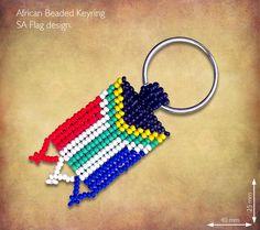 Beaded SA Flag Keyring