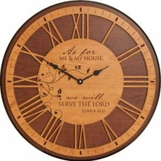 Amazon.com - As For Me and My House We Will Serve The Lord Inspirational Carved Wall Clock - Joshua 24:15 (22 inch)