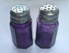 Matched set of Deep Purple glass SALT PEPPER SHAKERS  I Want These!!!