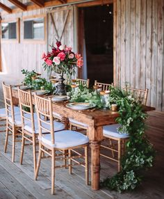Romantic table with greenery garland