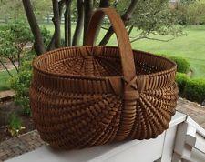 "Old Southern Split Oak Buttocks Farm Egg Basket Made in Kentucky LGE.16"" Signed"