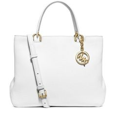 Michael Michael Kors Optic White Anabelle Medium Top Zip Tote (€305) ❤ liked on Polyvore featuring bags, handbags, tote bags, optic white, white tote, michael michael kors purse, tote hand bags, handbags tote bags and white tote purse
