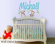 Boys Name Decal  Monkey Wall Decal  Nursery by WallDecalSource, $30.00
