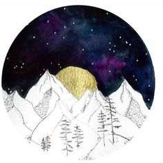 Watercolor Print, Circle Mountain Art, Landscape Painting, Watercolor... (€22) ❤ liked on Polyvore featuring home, home decor, wall art, round, circle, circular, solar system wall art, moon painting, outer space wall art and mountain scene painting