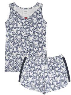 Organic Short Sleeve Girl Pajama Set with Heart Shaped Print Girls Pajamas, Kids Sleep, Pajama Set, Heart Shapes, Organic Cotton, Rompers, Cute, Dresses, Fashion