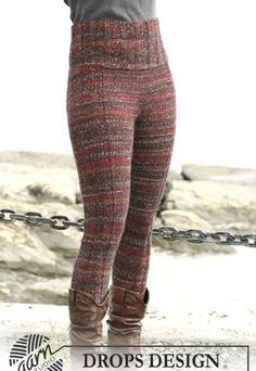 Free knitting patterns and crochet patterns by DROPS Design Crochet Shorts, Crochet Clothes, Knit Crochet, Crochet Pants Pattern, Knit Leggings, Knit Pants, Knitted Tights, Wool Pants, Drops Design